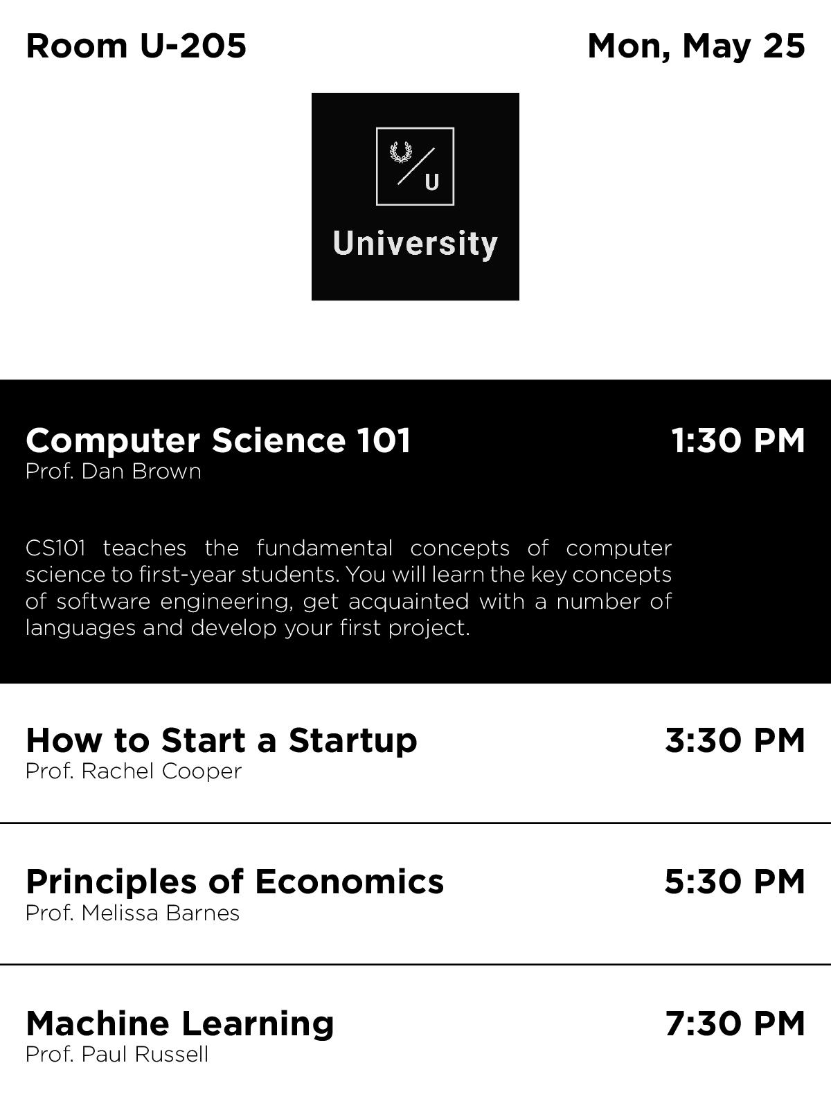 ePaper University Scheduling Digital Signage